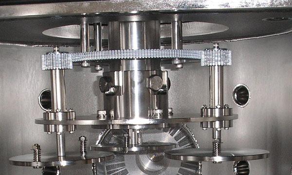 Планетарные механизмы вращения подложек в вакуумных напылительных системах. Вращение вокруг оси изделия (подложки) и оси камеры. Материал: нержавеющая сталь.
